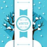 Seasonal illustration with winter tree in flat Stock Photo