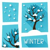 Seasonal illustration with winter tree in flat Royalty Free Stock Image