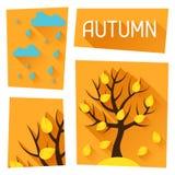 Seasonal Illustration With Autumn Tree In Flat