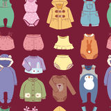 Seasonal infant clothes for kids babyish fashion infantile puerile cloth shop illustration seamless pattern background. Cartoon garment outerwear wardrobe stock illustration
