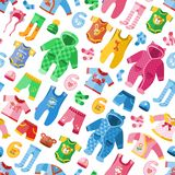 Seasonal infant clothes for kids babyish fashion infantile puerile cloth vector illustration seamless pattern background Stock Image