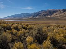 High desert in Oregon. A seasonal lake and high desert brush in the valley adjacent to the Steens Mountains in eastern Oregon royalty free stock photography
