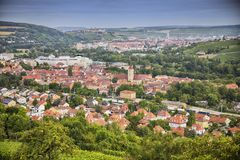 Panoramic view of old town Wurzburg, Bavaria Royalty Free Stock Images