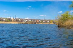 Seasonal landscape with small Ukrainian river Stock Photos
