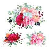 Seasonal mixed bouquets vector design set Royalty Free Stock Image