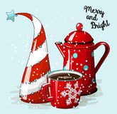 Seasonal Motive, Abstract Christmas Tree. Red Cup Of Coffee And Vintage Tea Pot, With Text Merry And Bright, Vector Royalty Free Stock Photography