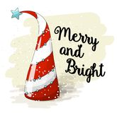 Seasonal motive, abstract christmas tree with text Merry and Bright, vector illustration stock illustration