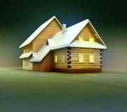 Seasonal mountain cottage window lighting at night Stock Images