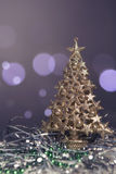 Seasonal new year and christmas greeting card composition with t. Oys and decorations on it. Bokeh background. Copy space Royalty Free Stock Photos