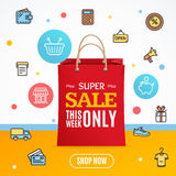 Seasonal Offer Sale Concept Flyer Card. Vector Royalty Free Stock Image