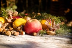 Seasonal organic fruit, healthy food in autumn. Fresh tasteful autumn organic fruit on table - healthy seasonal food Royalty Free Stock Photo