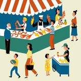 Seasonal outdoor market, street food festival. Buyers and sellers on marketplace. Cartoon vector flat illustration vector illustration