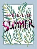 Seasonal poster Hello Summer. Stock Photo