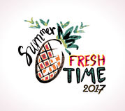 Seasonal poster with painted pineapple. Stock Photography