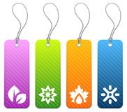 Seasonal product tags in 4 colors. Set of four seasonal product price tags in 4 colors Stock Photo