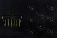 Seasonal promotional events price tags next to shopping basket Royalty Free Stock Photos