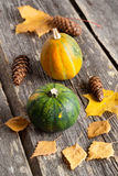 Seasonal pumpkin and grapes with autumn leaves, closeup, vertica Stock Photo