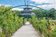 Seasonal rose garden, Esterhazy castle Fertod, Hungary. Natural scene. Travel destination Royalty Free Stock Photography