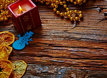 Seasonal rustic Christmas border composed of Royalty Free Stock Photo