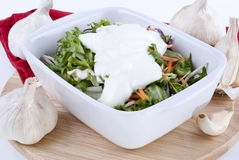 Seasonal salad in a white bowl Stock Photos