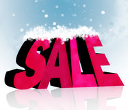 Seasonal sale. Pink SALE announcement covered with snow on top Stock Images