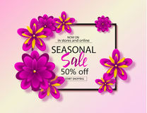 Seasonal sale background with beautiful flowers. Vector illustration template, banners. Wallpaper, flyers, invitation. Posters brochure Stock Image