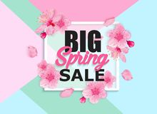 Seasonal sale banner with flowers Royalty Free Stock Photo