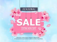 Seasonal sale banner with flowers Royalty Free Stock Photos