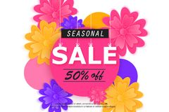 Seasonal sale banner with flowers Royalty Free Stock Image