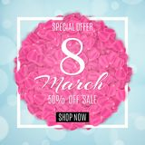 Seasonal sale banner for 8 March. Special offer. Happy Womens Day sale. Petals of sakura in white frame. Light blue background wit. H abstract lights bokeh Royalty Free Stock Image