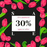 Seasonal sale banner. Spring holiday frame with text and flowers. Vector card with fresh colorful background. Festive frame decorated with pink tulips. Limited Stock Photo