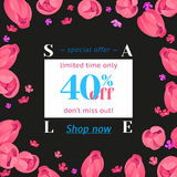 Seasonal sale banner. Spring holiday frame with text and flowers. Vector card with fresh colorful background. Festive frame decorated with pink tulips. Limited Stock Photography
