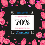 Seasonal sale banner. Spring holiday frame with text and flowers. Vector card with fresh colorful background. Festive frame decorated with pink tulips. Limited royalty free illustration