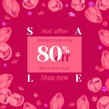 Seasonal sale banner. Spring holiday frame with text and flowers. Vector card with fresh colorful background. Festive frame decorated with pink tulips. Limited Royalty Free Stock Photography