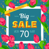 Seasonal sale banner. Spring holiday frame with text and flowers. Vector card with fresh colorful background. Festive frame decorated with pink tulips. Limited Stock Images