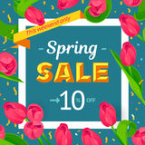 Seasonal sale banner. Spring holiday frame with text and flowers. Vector card with fresh colorful background. Festive frame decorated with pink tulips. Limited Stock Image