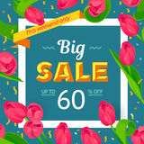 Seasonal sale banner. Spring holiday frame with text and flowers. Vector card with fresh colorful background. Festive frame decorated with pink tulips. Limited Stock Photos