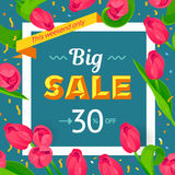 Seasonal sale banner. Spring holiday frame with text and flowers. Vector card with fresh colorful background. Festive frame decorated with pink tulips. Limited Royalty Free Stock Photo