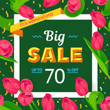 Seasonal sale banner. Spring holiday frame with text and flowers. Vector card with fresh colorful background. Festive frame decorated with pink tulips. Limited Royalty Free Stock Photos