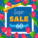 Seasonal sale banner. Spring holiday frame with text and flowers. Vector card with fresh colorful background. Festive frame decorated with pink tulips. Limited stock illustration