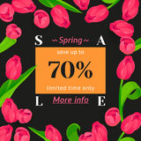 Seasonal sale banner. Spring holiday frame with text and flowers. Vector golden card with contrast fresh background. Festive frame decorated with pink tulips royalty free illustration