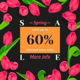Seasonal sale banner. Spring holiday frame with text and flowers. Vector golden card with contrast fresh background. Festive frame decorated with pink tulips vector illustration