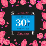Seasonal sale banner. Vector card with blue ticket 30 percent off and call to action hyperlink Shop now. Festive frame with button decorated with pink tulips Stock Photo