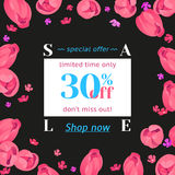 Seasonal sale banner. Vector card with white ticket 30 percent off and call to action hyperlink Shop now Stock Images