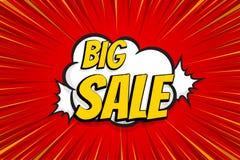 Seasonal sale comic text pop art sticker. Sale discount offer hand drawn speech bubble. Template comics speech balloon halftone dot background. Pop art style Stock Images