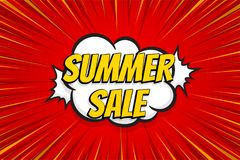 Seasonal sale comic text pop art sticker. Sale discount offer hand drawn speech bubble. Template comics speech balloon halftone dot background. Pop art style Royalty Free Stock Photo