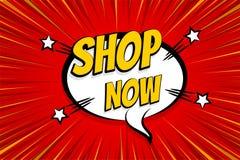 Seasonal sale comic text pop art sticker. Sale discount offer hand drawn speech bubble. Template comics speech balloon halftone dot background. Pop art style Stock Photography