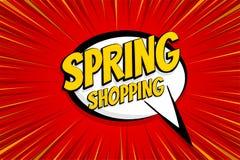 Seasonal sale comic text pop art sticker. Sale discount offer hand drawn speech bubble. Template comics speech balloon halftone dot background. Pop art style Royalty Free Stock Photos