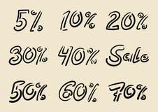 Seasonal sale doodle inscriptions. Handwritten lettering of lett Royalty Free Stock Photography