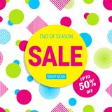 Seasonal sale poster. Vector design. Colored geometric shapes. 50 percent discount banner. Promotion card in a trendy style. brigh. T colors. Yellow, pink, blue royalty free illustration